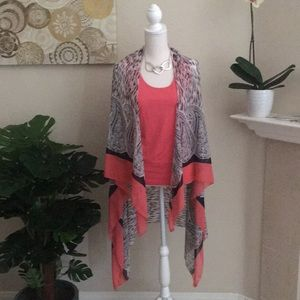 Tops - Sheer Scarf Vest Coral and Animal Print